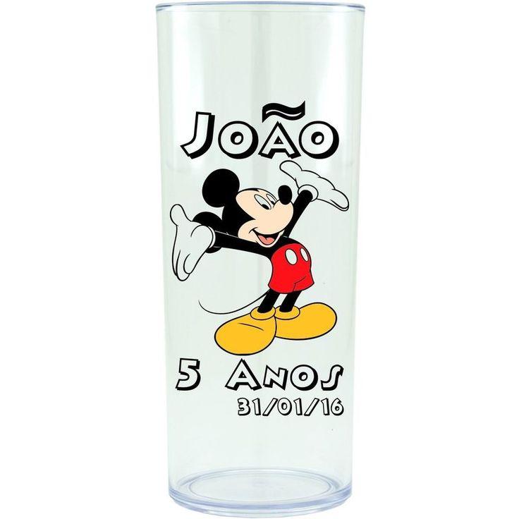 Copo Acrílico Personalizado Aniversário Mickey 01 Transparente - ArtePress   Brindes, Canecas, Copos de Acrílico Personalizado
