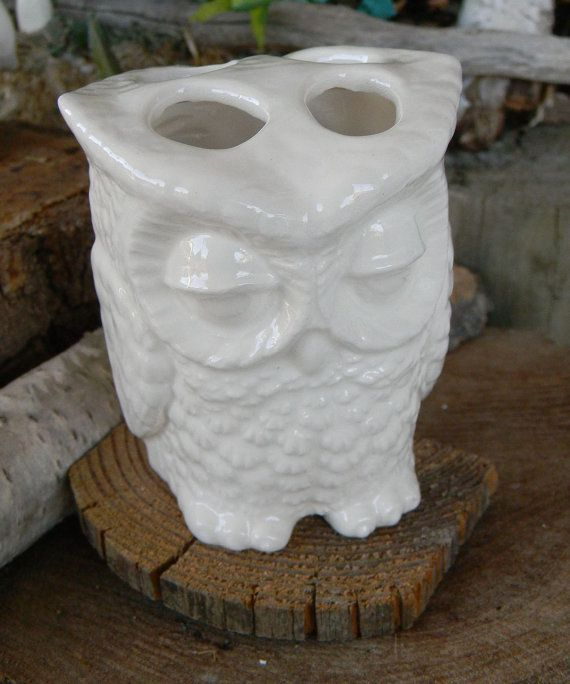ceramic white owl tooth brush holder or pen holder bathroom decor glazed ceramic harry potters owl friend both sides have faces