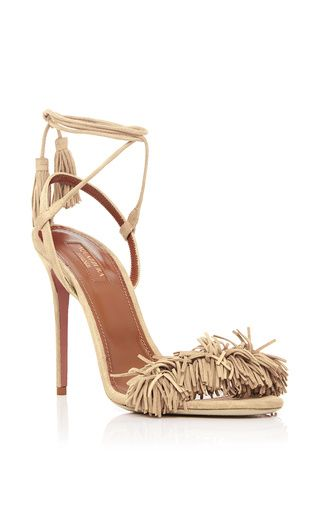 Wild thing nude fringed suede sandals by AQUAZZURA Now Available on Moda Operandi