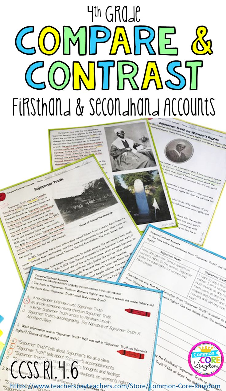 Firsthand and secondhand texts to teach your 4th graders how to compare and contrast accounts on the same event or topic. 11 paired passages and comprehension questions. Assessment is also included.