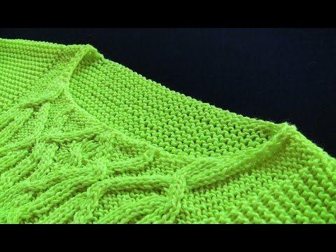 Как связать горловину БЕЗ резинки. Круглая НЕГЛУБОКАЯ горловина спицами для пуловера Вязание спицами - YouTube