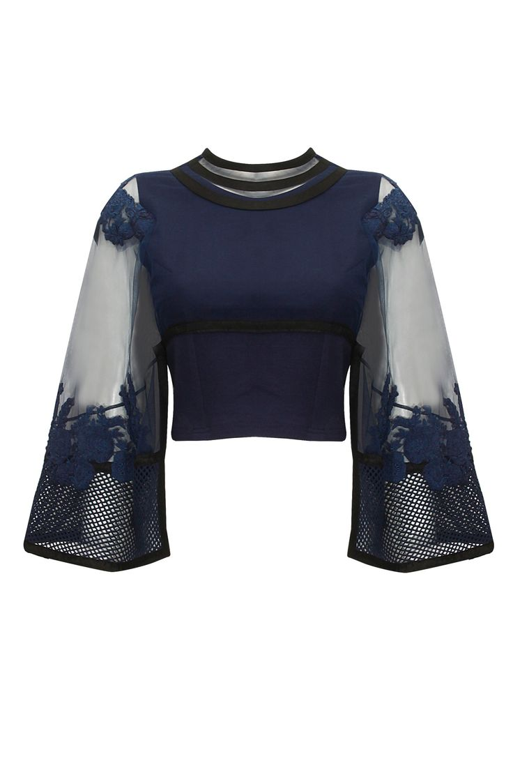 Navy blue and black floral embroidered cape top available only at Pernia's Pop-Up Shop.
