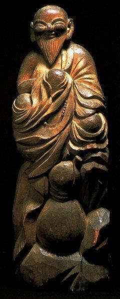 Wood Statue by Mokujiki Shonin (1718-1810) Wooden Sculpture Edo Period, 1801 AD