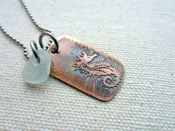 Copper Seahorse Dog Tag Necklace with Sea by BeachCoveJewelry, $30.00
