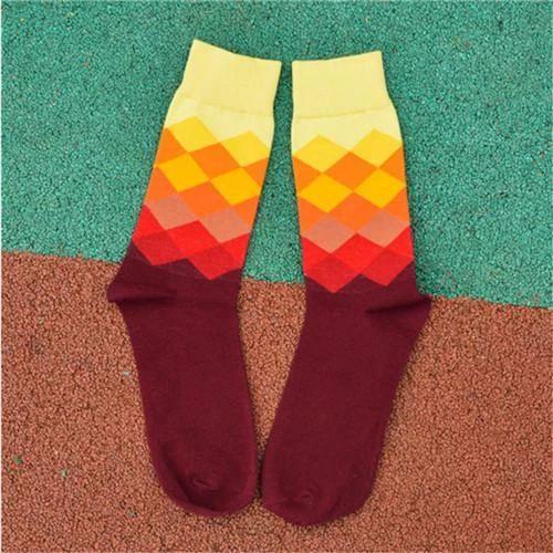 Recommend !! men socks cotton autumn-winter colorful lattice sock fashion men's and male retro harajuku street fashion long sock