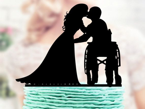Wheelchair Wedding Cake Topper Groom in by TopperForWedding