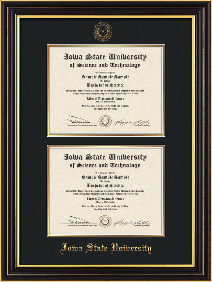 Iowa State U Diploma Frame - Satin Black - w/ISU Seal - Double Diploma – Professional Framing Company