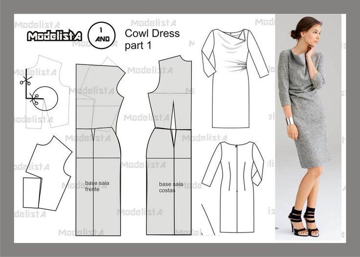 Modelagem de vestido Cowl dress part 1. Fonte: https://www.facebook.com/photo.php?fbid=567884603247449&set=a.426468314055746.87238.422942631074981&type=1&theater