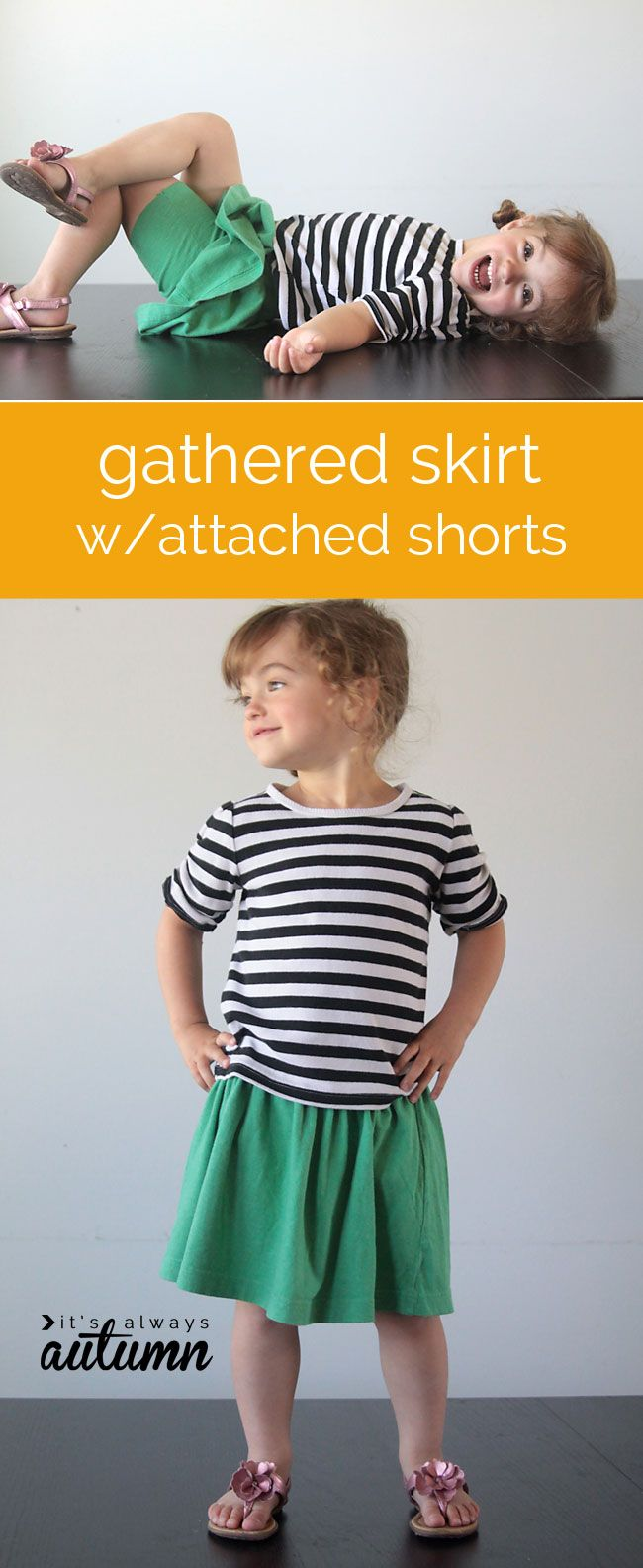 how to make a gathered skirt with attached shorts sewing tutorial for your active little girl