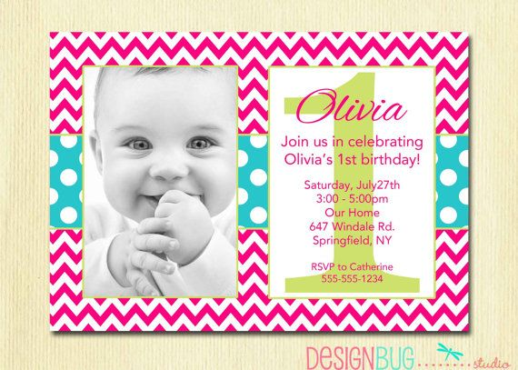213 best 1st birthday invites images on pinterest birthday party 1st birthday girl invitation pink chevron by designbugstudio 1400 stopboris Image collections