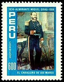 Stamp: Admiral Miguel Grau - Knigts of the Sea, by Pablo Muniz (Peru) Mi:PE 1280,Sn:PE 824a
