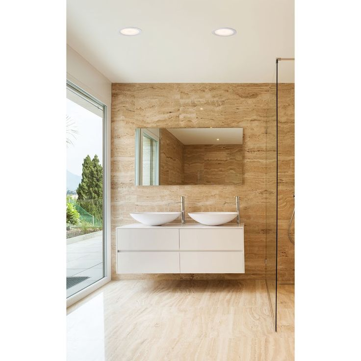 Iluminacion Baño Moderno:Baño de diseño moderno con doble grifo Iluminación con downlights