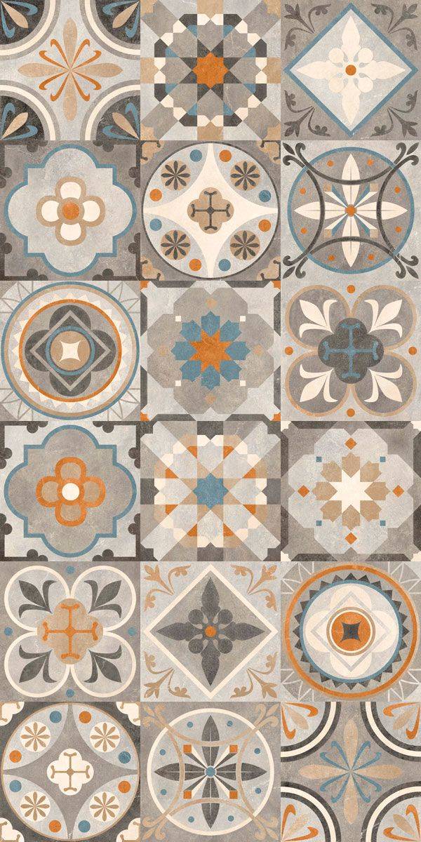 Carrelage imitation carreau de ciment ancien d cor gr s chromatic gris neutres et colores - Carreau ciment adhesif ...