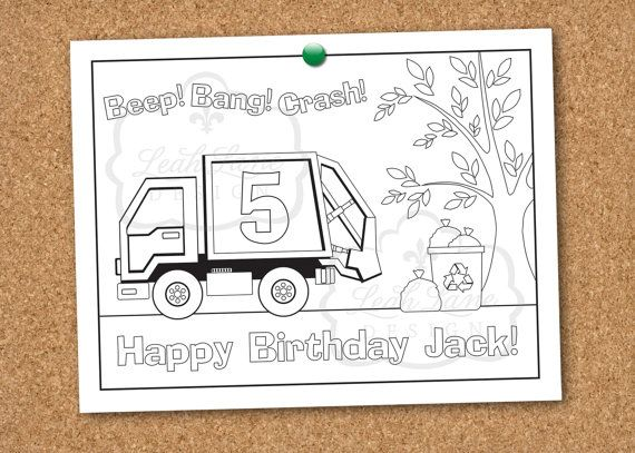 Garbage/Recycle Truck Birthday Party Printable Coloring Sheet