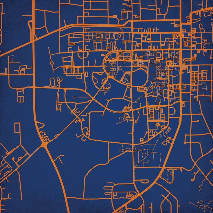 Auburn University Campus Map Art