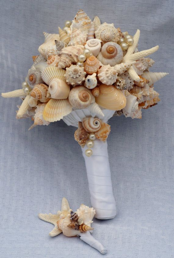 Starfish and Seashell Bouquet/Boutonierre by SlyCreationsBouquets, $120.00