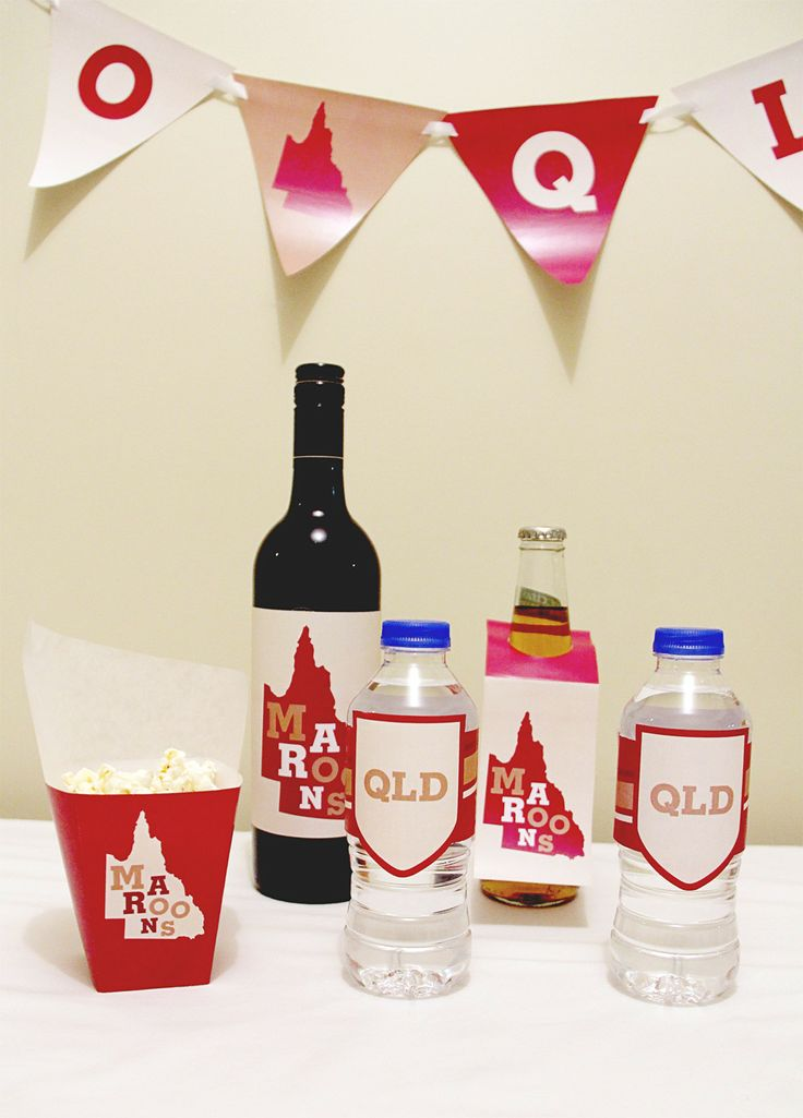 Queensland (Maroons) State of Origin Snack Box and Drink Labels | Creative Sense Co