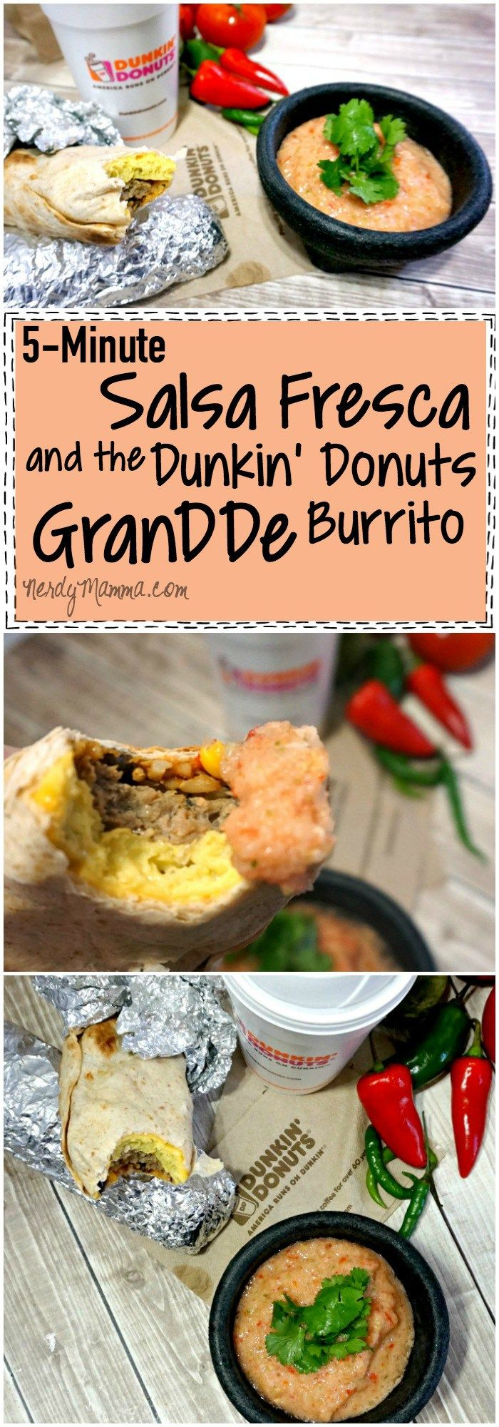 I love this 5-minute recipe for Salsa Fresca...and pairing it with the new Dunkin' Donuts GranDDe Burrito Genius! #ad