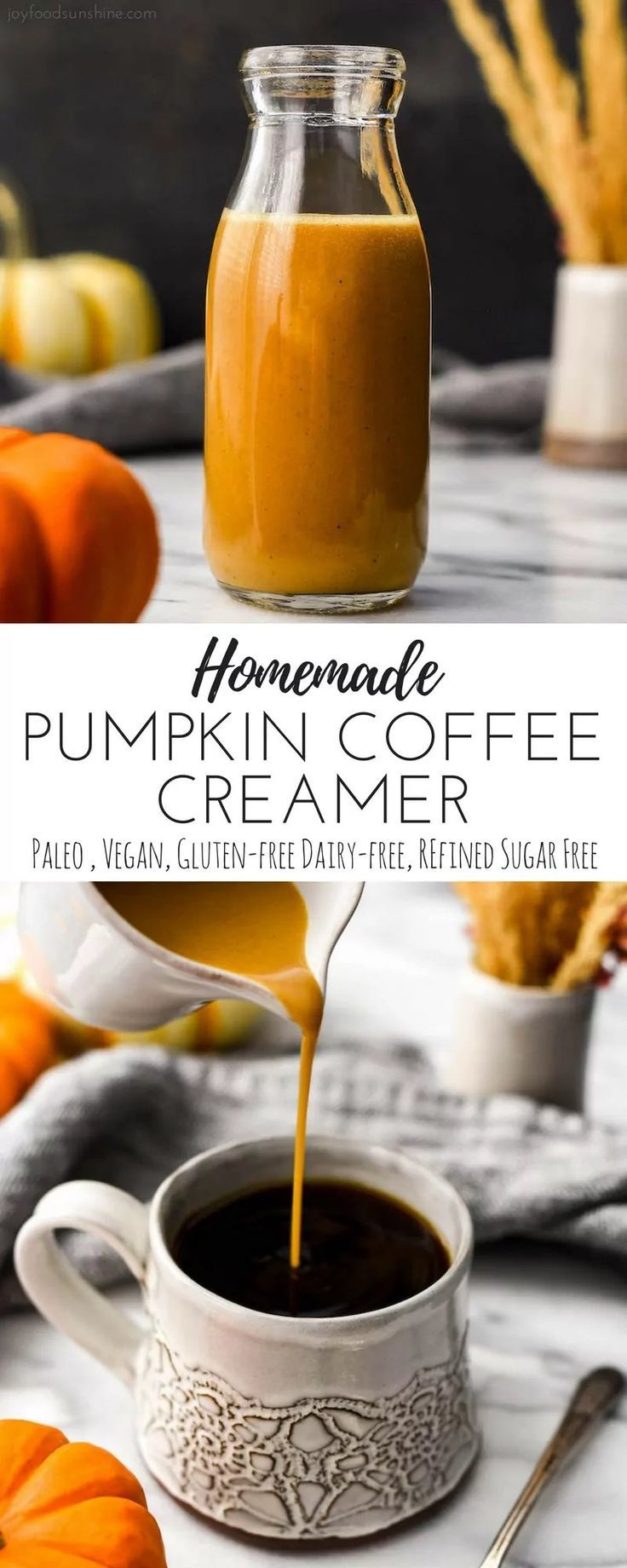 Paleo & Vegan Homemade Pumpkin Coffee Creamer recipe is a great addition to a cozy fall morning! It's gluten-free, grain-free, dairy-free and has no refined sugar but is still irresistibly creamy and delicious!