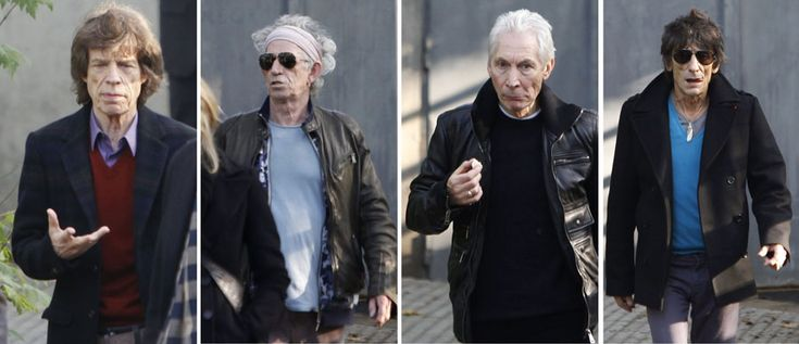 "Members of The Rolling Stones, (left to right) Mick Jagger, Keith Richards, Charlie Watts and Ron Wood walk out of the Trabendo concert hall in Paris, Thursday Oct. 25, 2012. The Rolling Stones announced a surprise ""warm-up gig"" in Paris, and within an hour the Champs Elysees was swarming with fans hoping to get satisfaction with one of the 350 tickets for the Thursday night show. (AP photos) #music"