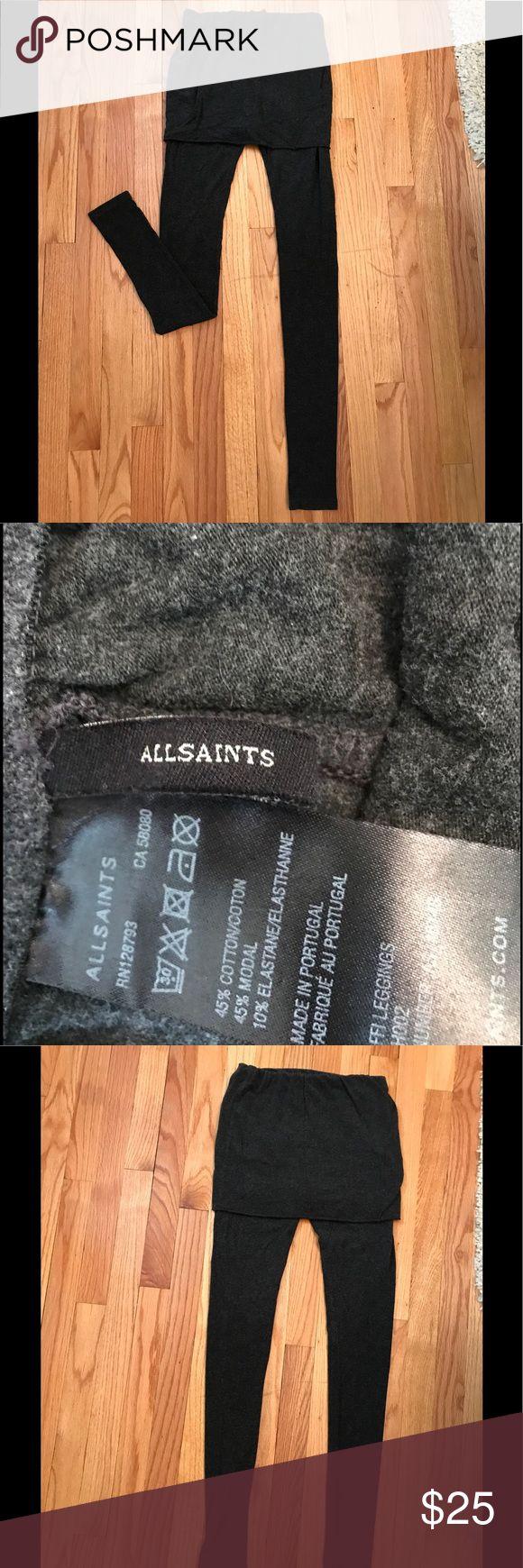 ALL SAINTS skirt leggings Beautiful dark grey ALLSAINTS skirt leggings. Super soft and so cute on All Saints Pants Leggings