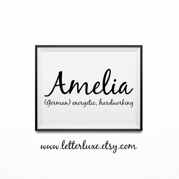 Amelia Name Meaning Poster Printable Nursery Art Baby Wall Decor | Wooden Letter Nursery Decor & Inspirational Art Prints