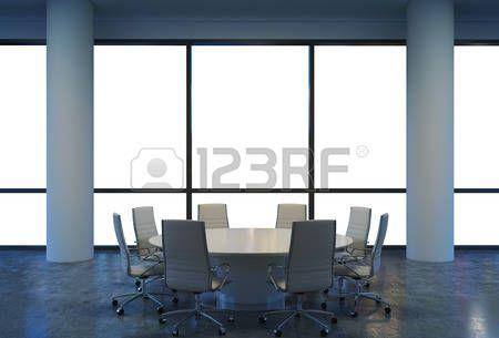 Panoramic conference room in modern office, copy space view from the windows. White chairs and a white round table. 3D rendering. photo