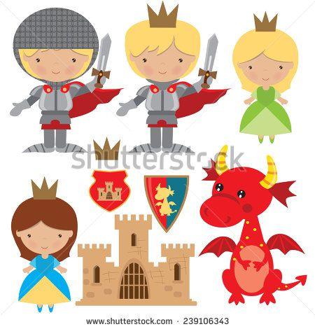 Medieval knight, princess and dragon vector illustration