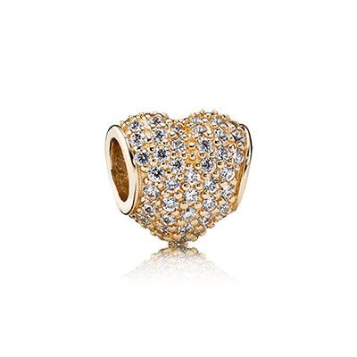 PANDORA's iconic puffy heart charm in 14k gold offset by 94 sparkling pavé-set stones. Luxurious and elegant! #PANDORAcharm