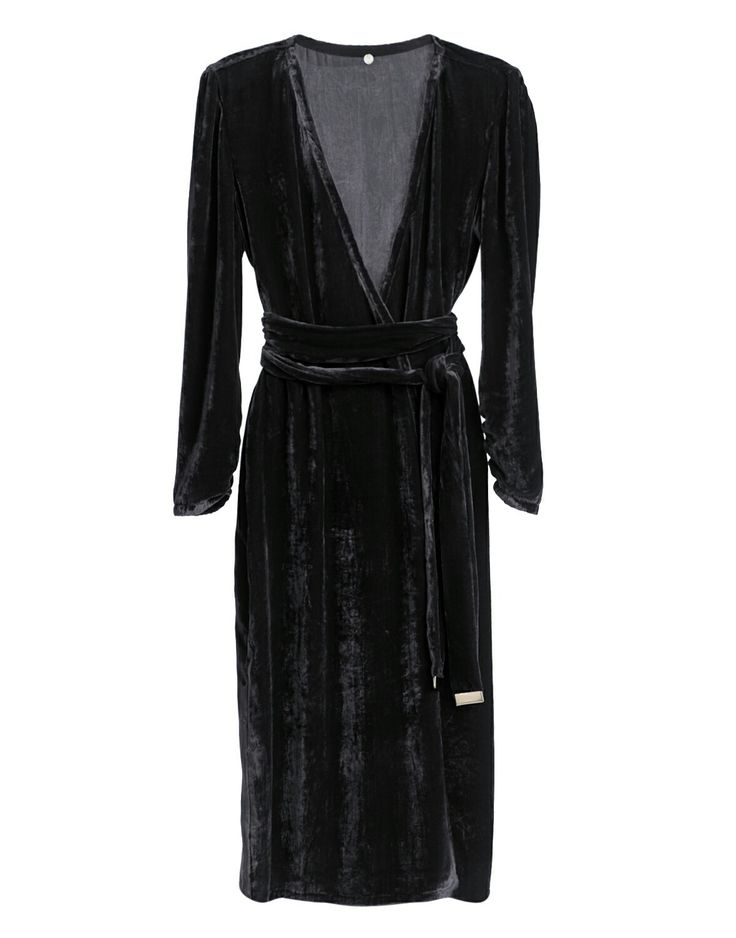 Black Velvet Wrap Dress #Blackdress #ltb #velvetDress #silk #SilkVELVET #wrapdress