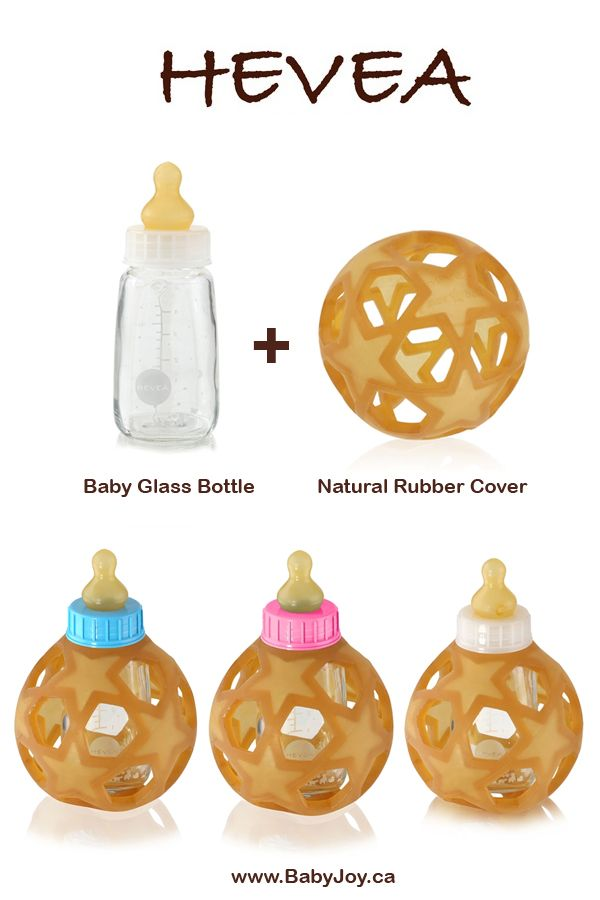 Hevea Baby Glass Bottle with Natural Rubber Cover. 100% Borosilicate glass bottle + 100% natural nipple + natural rubber cover. #Hevea #BabyBottle