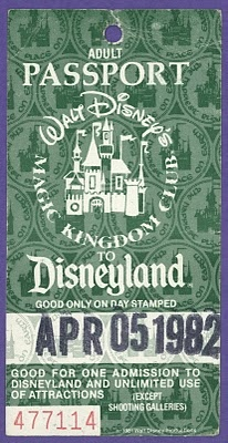 Disneyland replaced individual ride tickets (in use since 1955) with its new passports (single admission price to the park) in 1982.