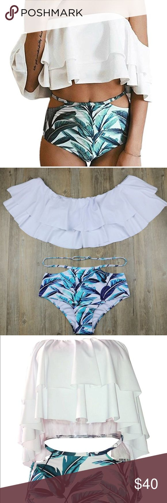 New bikini high wasted any size Any size available, super cute highwasted off the shoulder bikini. Brand new with authentication tags. acacia swimwear Swim Bikinis