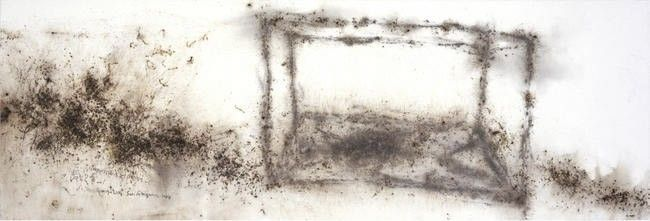 Cai Guo-Qiang, Impressions of Stage One, 2006, gunpowder on paper, backed on wood panel, 77 x 230 cm. Galleria Continua San Gimignano, 2006.