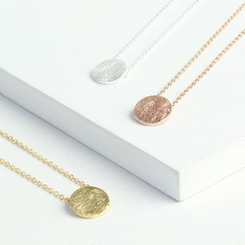 Scratched Metal Disc Necklace