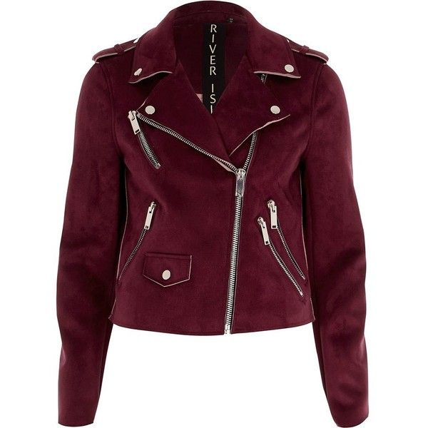 River Island Oxblood red faux suede biker jacket ($120) ❤ liked on Polyvore featuring outerwear, jackets, red, coats / jackets, women, red jacket, biker jackets, faux suede moto jacket, purple jacket and faux suede jacket