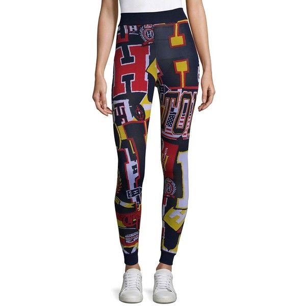 Tommy Hilfiger Collection Hilfiger Logo Leggings ($160) ❤ liked on Polyvore featuring pants, leggings, white pants, elastic waist pants, tommy hilfiger pants, logo pants and rayon pants