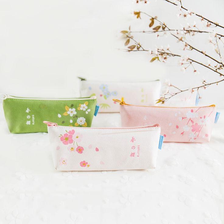 12.99$  Watch here - Cherry Blossom School Pencil Cases for Girls Triangle Pen Bag Canvas Papelaria Kawaii Stationery Items Material Escolar Estuche  #aliexpressideas