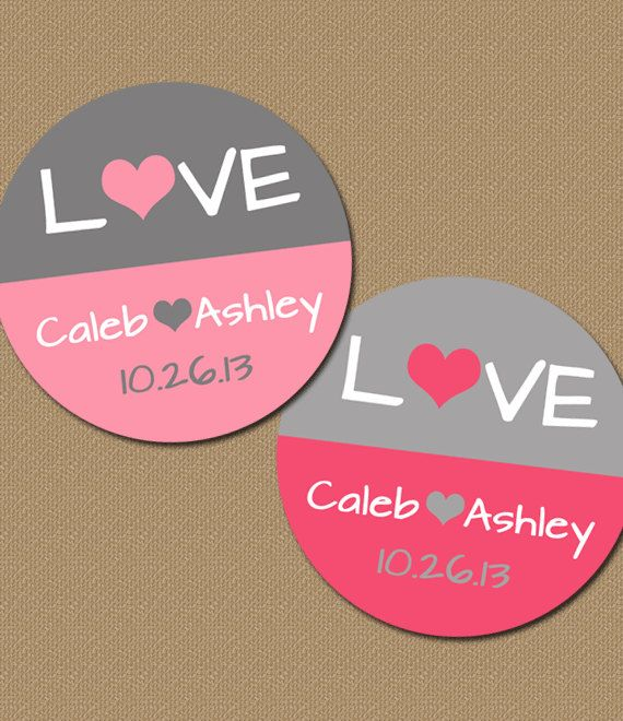 Personalized Wedding Labels Pink Gray Favor Stickers Bridal Printable Tags Cupcake Toppers