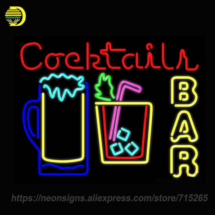 Neon Sign For Cocktails Bar Open Cocktails Parrot Two