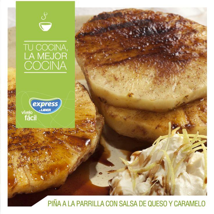 Rodajas de piña a la parrilla con salsa de queso, caramelo y reducción balsámica #Food #Foodporn #Receta #RecetarioExpress #Piña #Caramelo