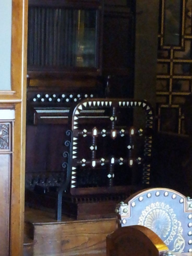 Guell had a daughter who enjoyed playing organ, therefore organ was built in Guell Palace with 17 metres long pipes stretching across all floors. The organ keyboard seen on this picture.