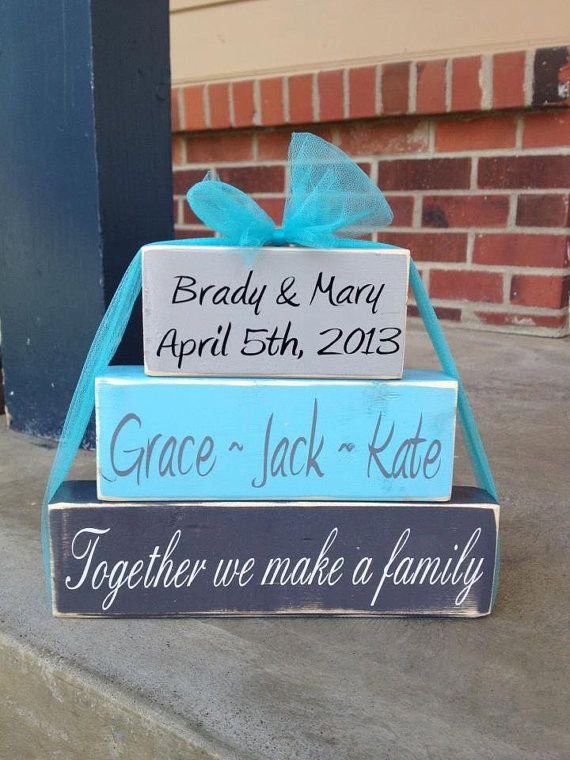 Blended family wood block set family names by FromTheMillWoodBlock, $15.95