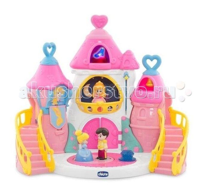 Chicco Волшебный замок Принцесс Disney  Игровой набор для девочек Chicco – это волшебный замок, где обитают принцессы Дисней. Замок разделен на 2 половины, в нем прекрасно уживаются две принцессы: Золушка и Спящая Красавица.  Особенности замка Chicco: Игровое пространство позволяет обыгрывать волшебные истории Disney. Электронные игры развивают воображение ребенка, зрительное и слуховое восприятие. Замок оснащен световыми и звуковыми эффектами. Танцплощадка для принца и Золушки: танцующая…