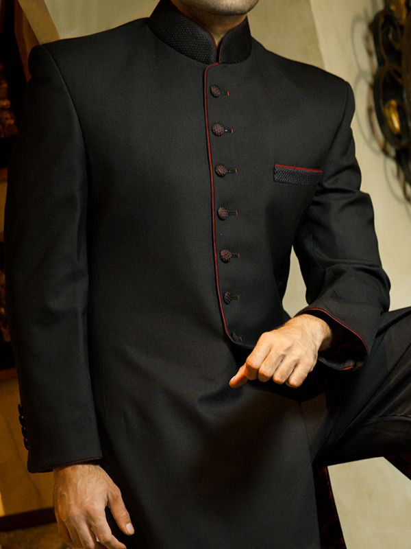 Suiting Fabric Sherwani in Black