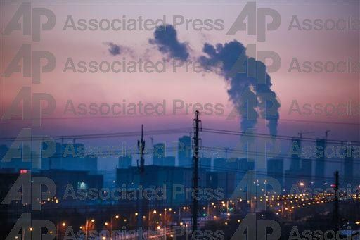 Smoke rising from a power plant in Changchun
