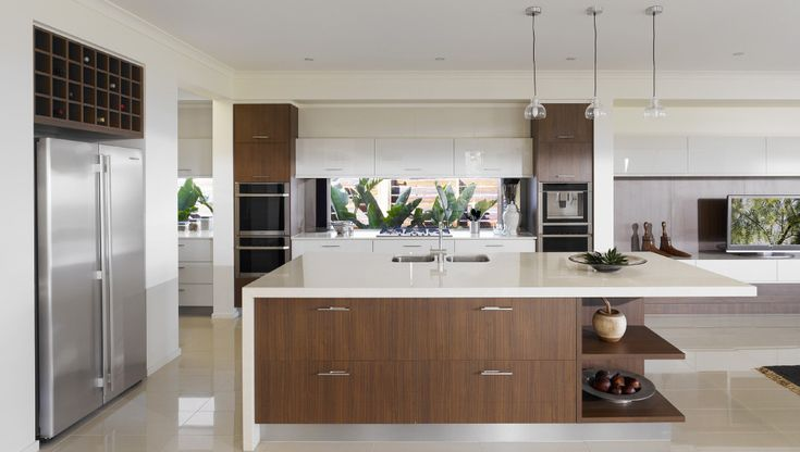 Wall St theme kitchen: Laminex Milano Walnut/Caeserstone Buttermilk/2-pac Colourtech Gloss Pumice feature overhead cupboards