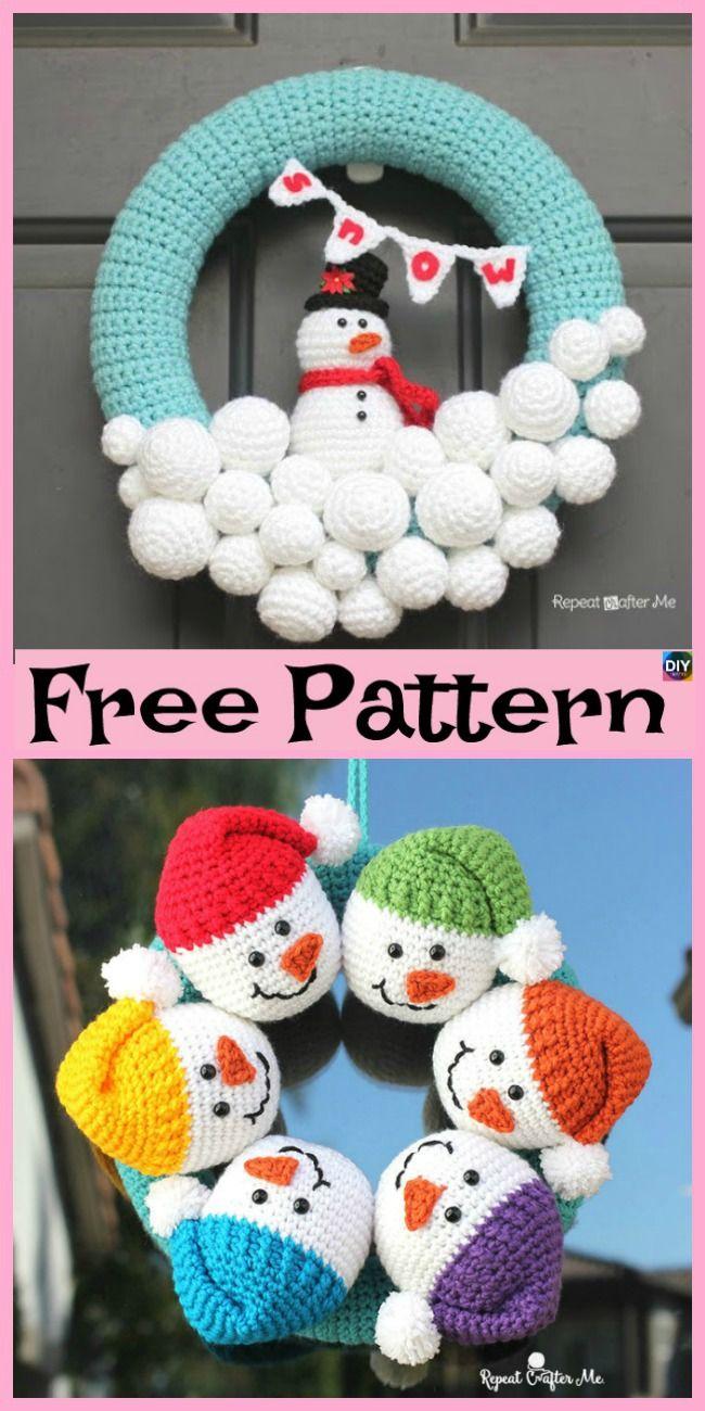 Crochet Cute Snowman Free Pattern Freecrochetpatterns Snowma Crochet Christmas Decorations Crochet Christmas Ornaments Free Christmas Crochet Patterns Free