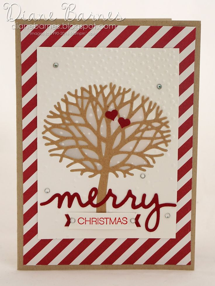 Merry Christmas card using Stampin Up Thoughtful Branches bundle &…