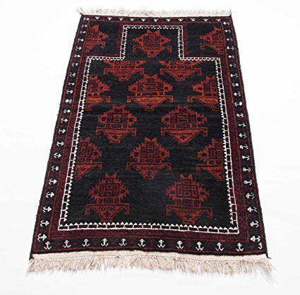 Beluch Afghan, pezzo unico opere d' arte Tappeto Orientale Annodato a mano per soggiorno corridoio camera da letto, 100% lana vergine, 80x 127cm, Bordeaux